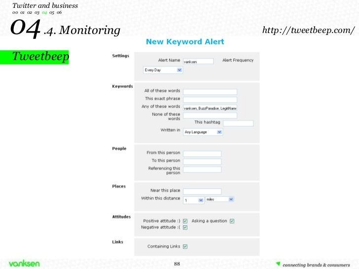 Tweetbeep 04   .4. Monitoring Twitter  and business 00  01  02  03  04   05  06 http://tweetbeep.com/