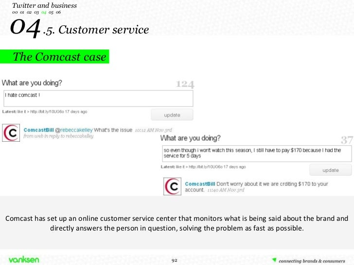 04   .5. Customer service The Comcast case Twitter and business 00  01  02  03  04   05  06 Comcast has set up an online c...
