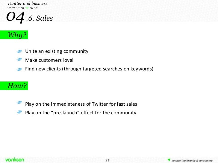 04   .6. Sales Why? Twitter and business 00  01  02  03  04   05  06 Unite an existing community Make customers loyal Find...