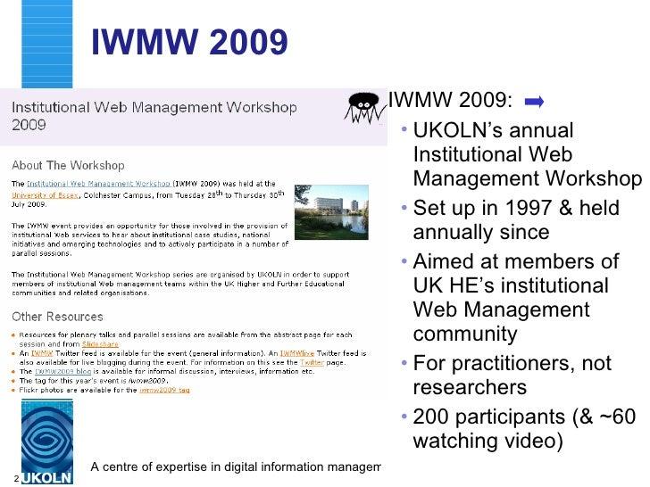 Linking Feral Event Data: IWMW 2009 Case Study Slide 2