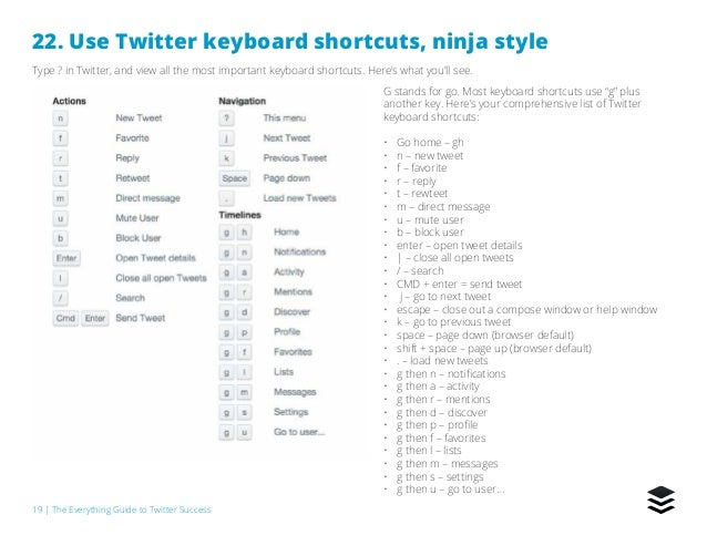 19   The Everything Guide to Twitter Success 22. Use Twitter keyboard shortcuts, ninja style Type ? in Twitter, and view a...