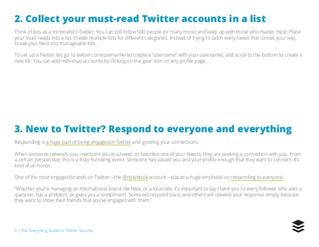 5   The Everything Guide to Twitter Success 2. Collect your must-read Twitter accounts in a list Think of lists as a minim...