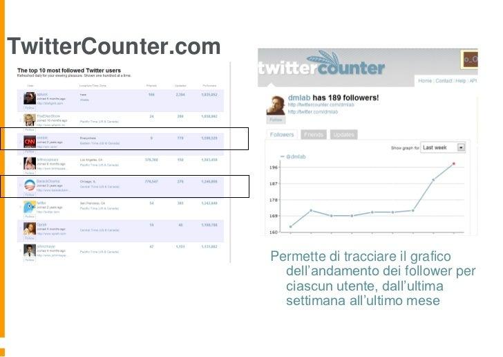 TwitterCounter.com                     Permette di tracciare il grafico                       dell'andamento dei follower ...