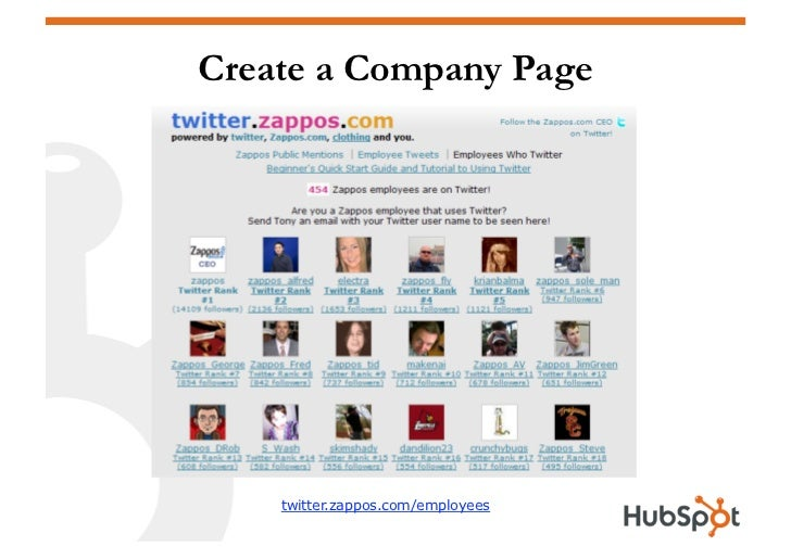 Create a Company Page         twitter.zappos.com/employees