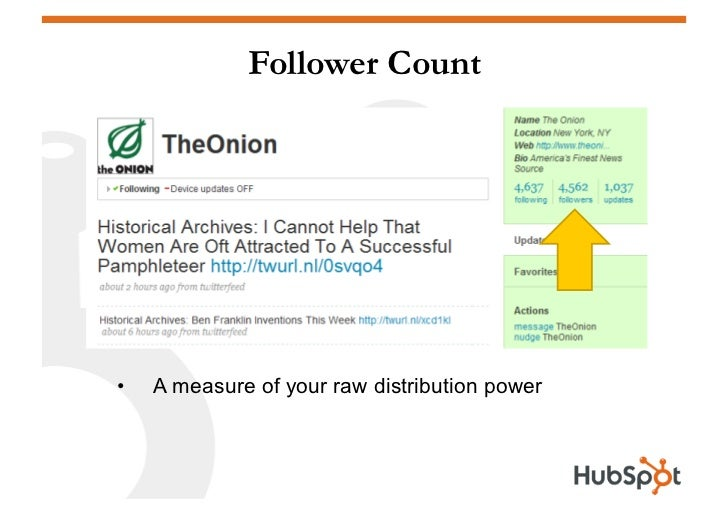 Follower Count     •   A measure of your raw distribution power