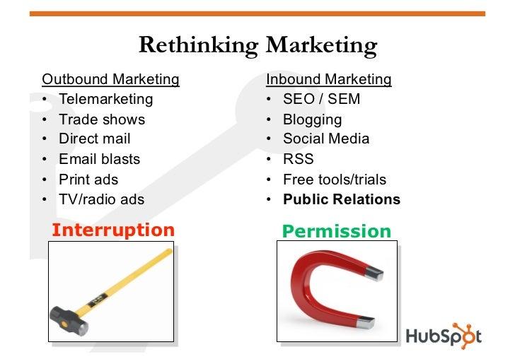 Rethinking Marketing Outbound Marketing    Inbound Marketing • Telemarketing      • SEO / SEM • Trade shows        • B...