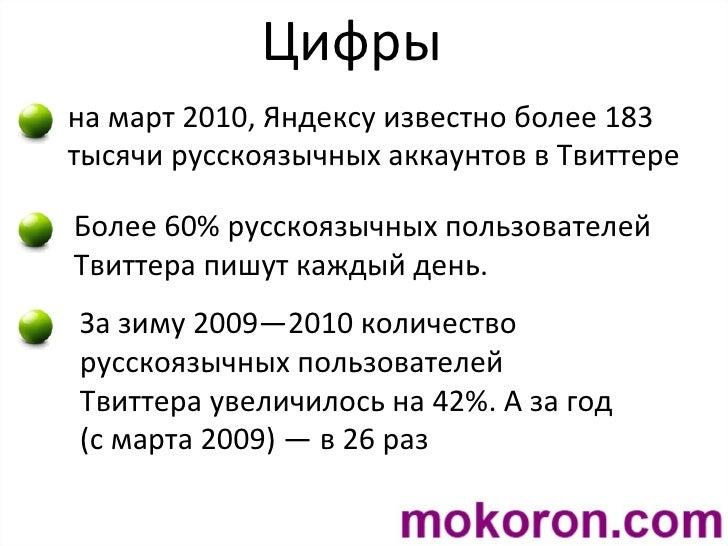 Цифры на март 2010, Яндексу известно более 183 тысячи русскоязычных аккаунтов в Твиттере Более 60% русскоязычных пользоват...