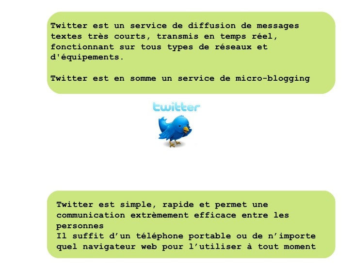 Twitter est un service de diffusion de messages textes très courts, transmis en temps réel, fonctionnant sur tous types de...