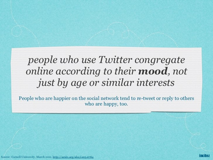 people who use Twitter congregate                  online according to their mood, not                     just by age or ...