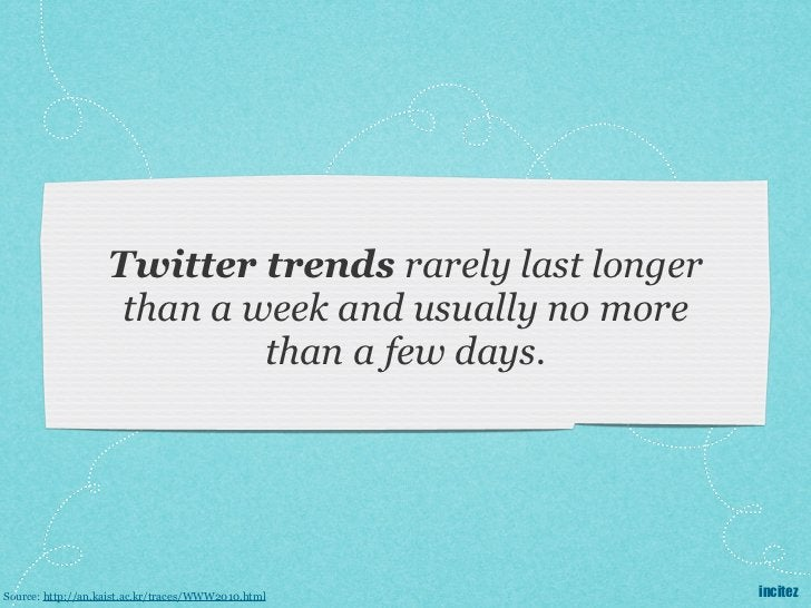 Twitter trends rarely last longer                    than a week and usually no more                            than a few...