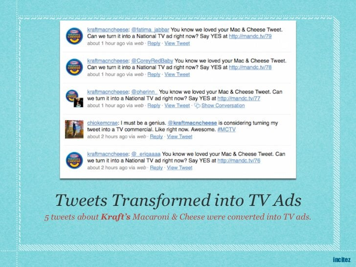Tweets Transformed into TV Ads5 tweets about Kraft's Macaroni & Cheese were converted into TV ads.                        ...