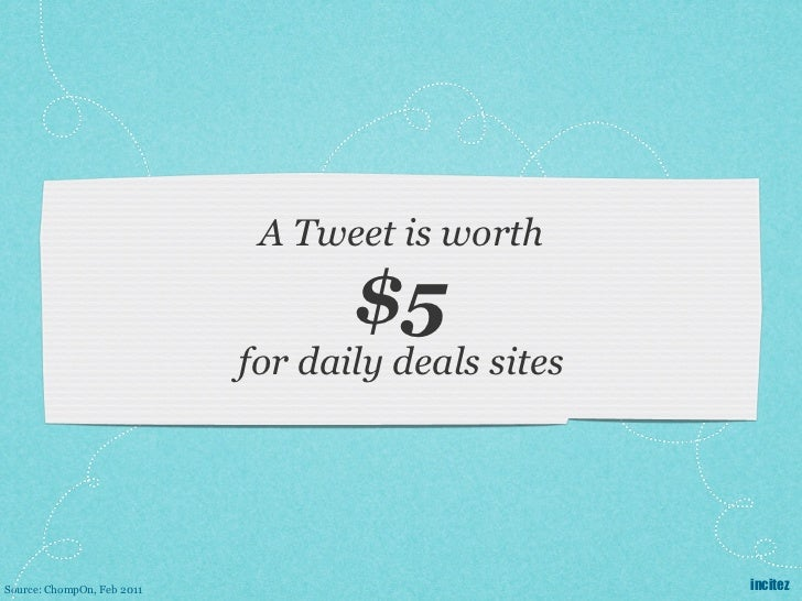 A Tweet is worth                                   $5                            for daily deals sitesSource: ChompOn, Feb...