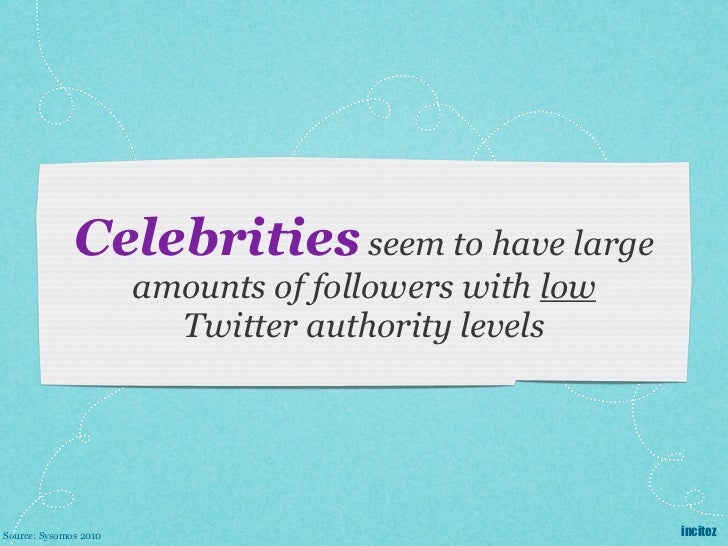 Celebrities seem to have large                       amounts of followers with low                         Twitter authori...
