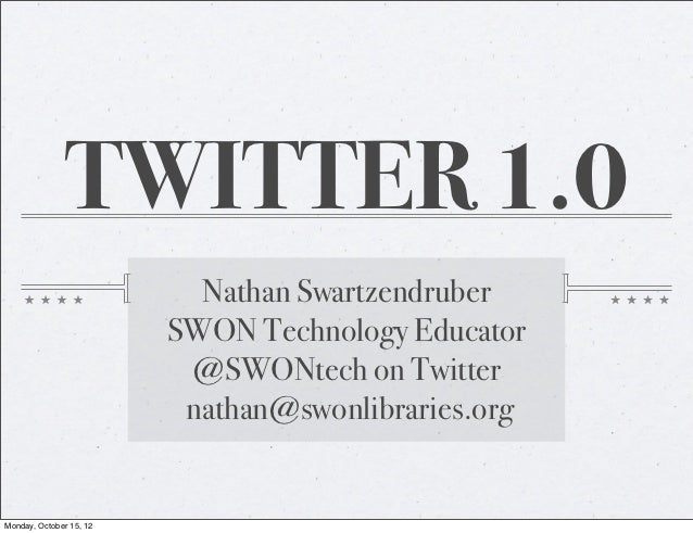 TWITTER 1.0                           Nathan Swartzendruber                         SWON Technology Educator              ...