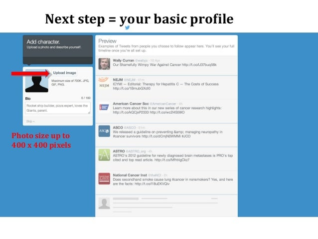 Next step = your basic profile Photo size up to 400 x 400 pixels