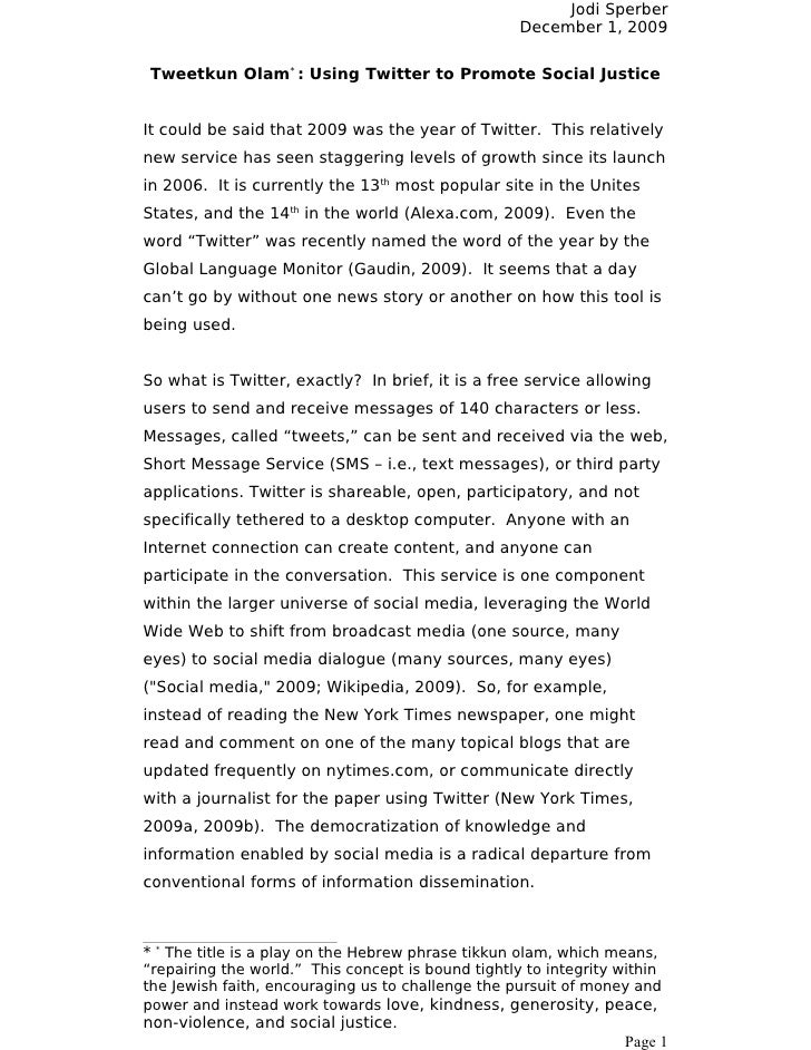 Jodi Sperber                                                     December 1, 2009  Tweetkun Olam* : Using Twitter to Promo...