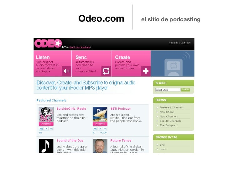 Odeo.com   el sitio de podcasting