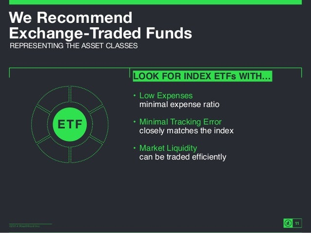 ©2014 Wealthfront Inc. 11 We Recommend Exchange-Traded Funds REPRESENTING THE ASSET CLASSES LOOK FOR INDEX ETFs WITH… • L...
