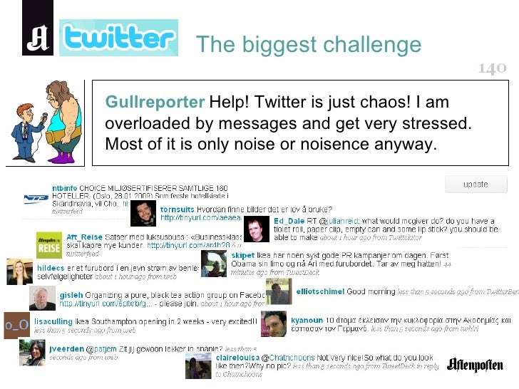 The biggest challenge Gullreporter   Help! Twitter is just chaos! I am overloaded by messages and get very stressed. Most ...