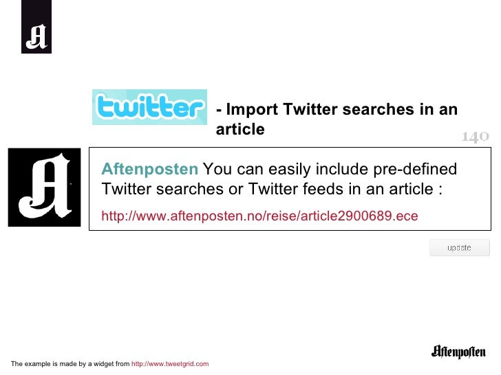 Aftenposten   You can easily include pre-defined Twitter searches or Twitter feeds in an article :  http://www.aftenposten...