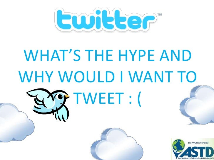 WHAT'S THE HYPE AND WHY WOULD I WANT TO TWEET : (<br />