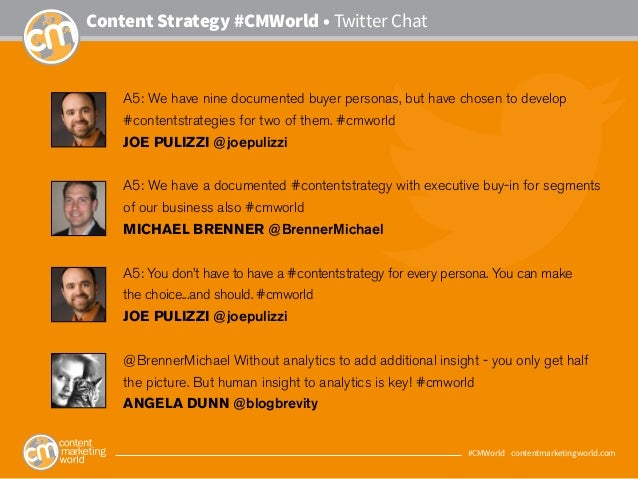 #CMWorld • contentmarketingworld.com Content Strategy #CMWorld • Twitter Chat A5: We have nine documented buyer personas, ...