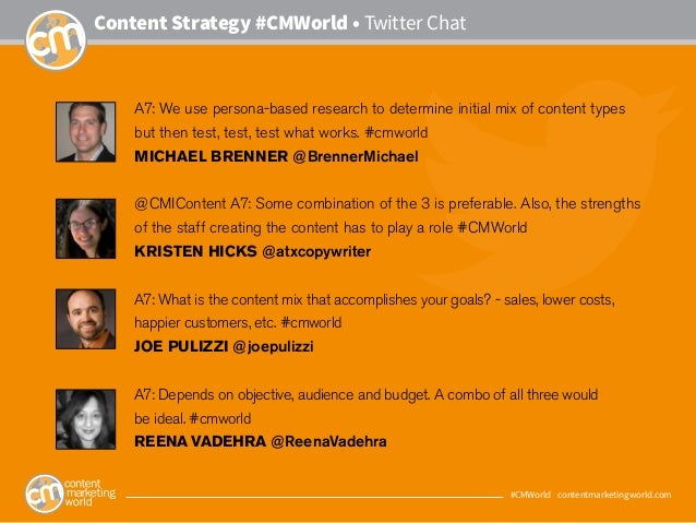 #CMWorld • contentmarketingworld.com Content Strategy #CMWorld • Twitter Chat A7: We use persona-based research to determi...
