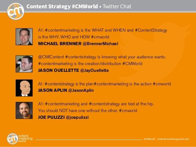 #CMWorld • contentmarketingworld.com Content Strategy #CMWorld • Twitter Chat A1: #contentmarketing is the WHAT and WHEN a...