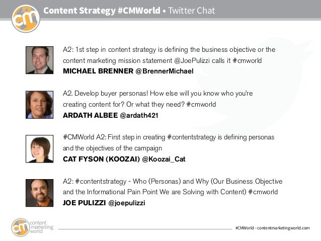 #CMWorld • contentmarketingworld.com Content Strategy #CMWorld • Twitter Chat A2: 1st step in content strategy is defining...