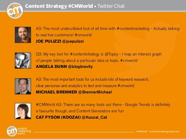 #CMWorld • contentmarketingworld.com Content Strategy #CMWorld • Twitter Chat A3: The most underutilized tool of all time ...