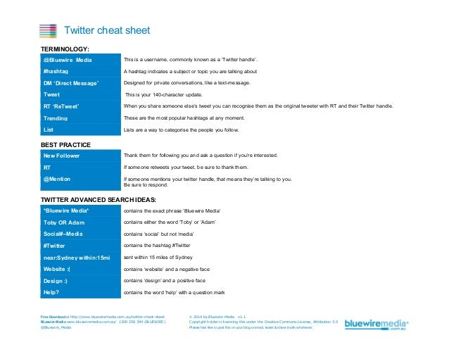 Twitter cheat sheet TERMINOLOGY: @Bluewire_Media  This is a username, commonly known as a 'Twitter handle'.  #hashtag  A h...