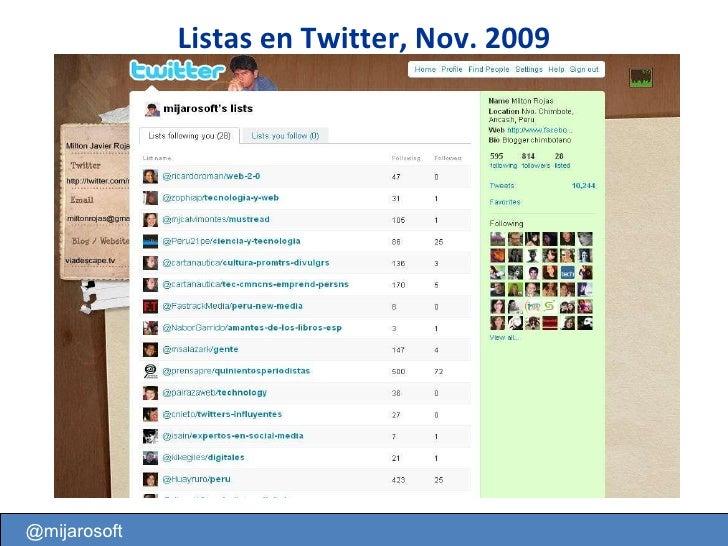 @mijarosoft Listas en Twitter, Nov. 2009