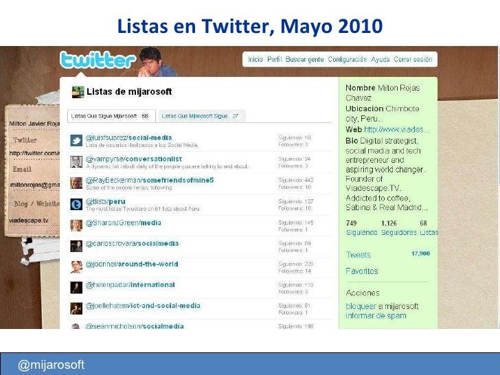 @mijarosoft Listas en Twitter, Mayo 2010