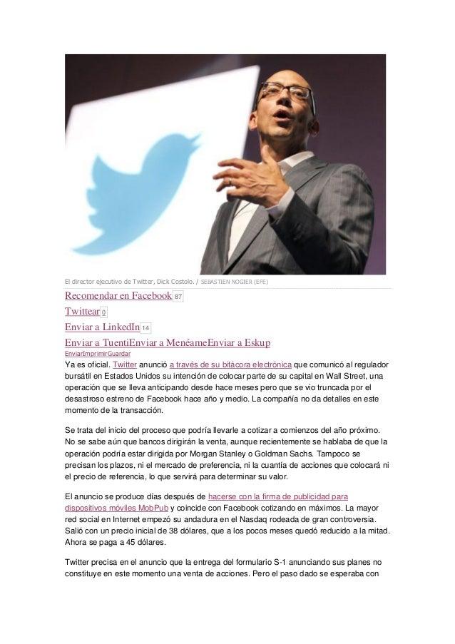 TWITTER COTIZARÁ EN BOLSA Slide 2