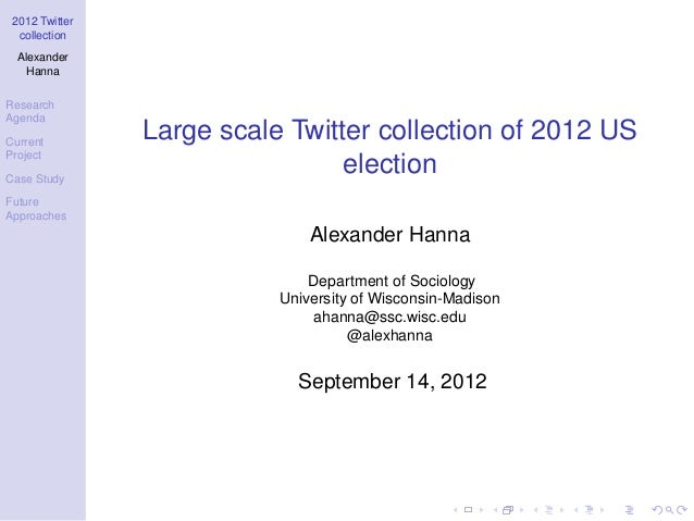 2012 Twitter  collection  Alexander   HannaResearchAgendaCurrent                Large scale Twitter collection of 2012 USP...