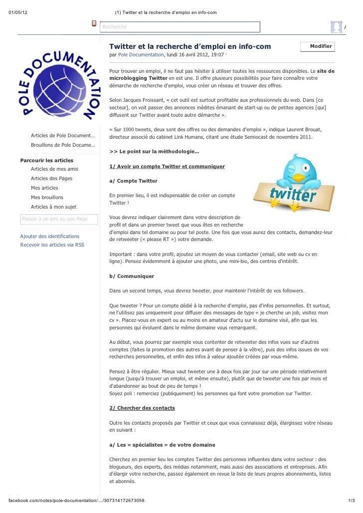 01/05/12                                    (1) Twitter et la recherche d'emploi en info-com                              ...