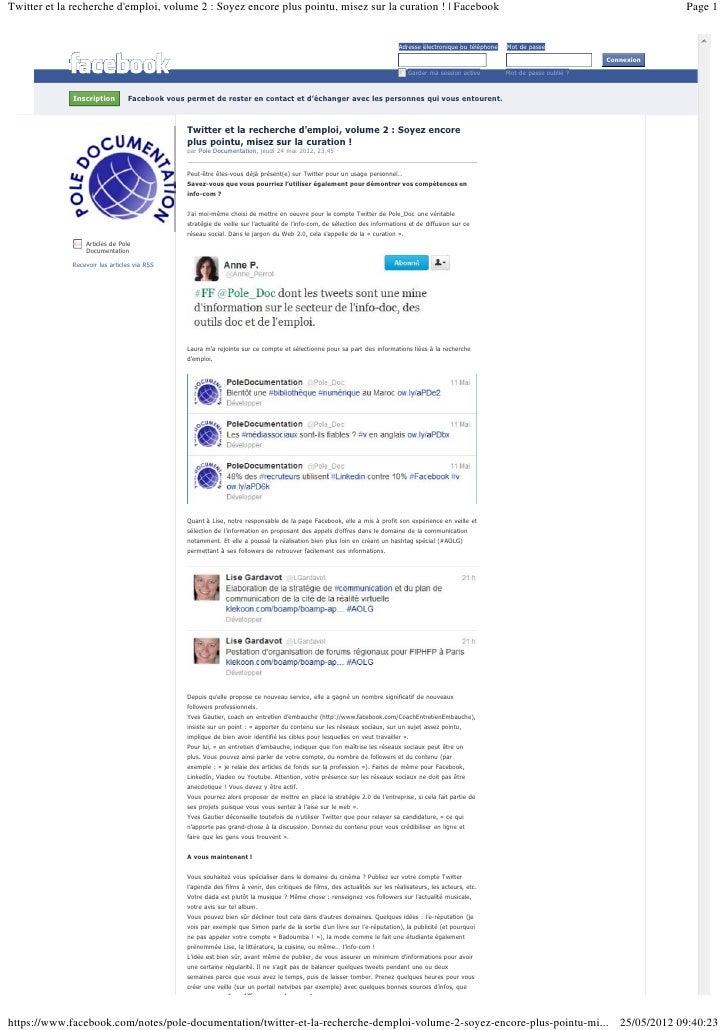 Twitter et la recherche demploi, volume 2 : Soyez encore plus pointu, misez sur la curation ! | Facebook                  ...