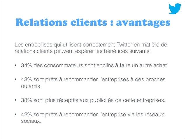 Relations clients : avantages Les entreprises qui utilisent correctement Twitter en matière de relations clients peuvent e...