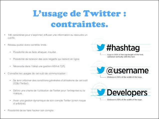 L'usage de Twitter : contraintes. •  140 caractères pour s'exprimer, diffuser une information ou résoudre un conflit.  •  R...