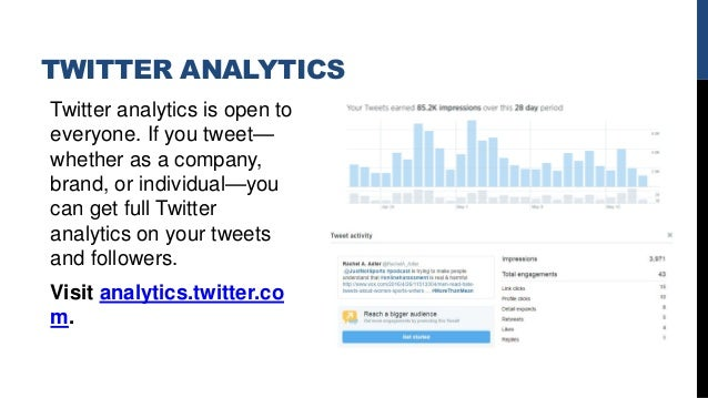 TWITTER ANALYTICS Twitter analytics is open to everyone. If you tweet— whether as a company, brand, or individual—you can ...