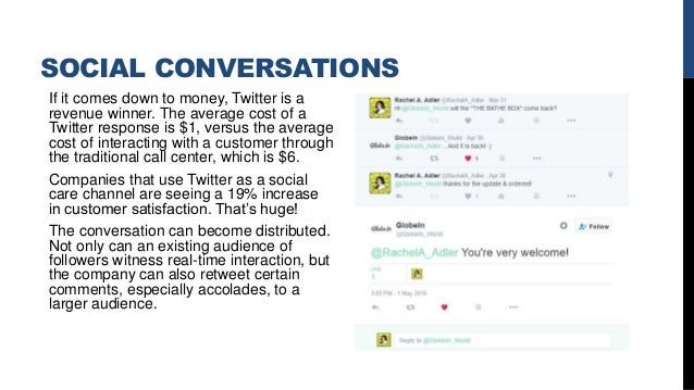 SOCIAL CONVERSATIONS If it comes down to money, Twitter is a revenue winner. The average cost of a Twitter response is $1,...