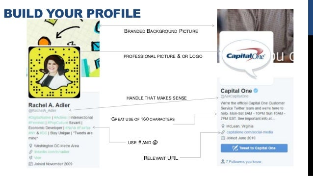 BUILD YOUR PROFILE USE # AND @ GREAT USE OF 160 CHARACTERS PROFESSIONAL PICTURE & OR LOGO HANDLE THAT MAKES SENSE BRANDED ...