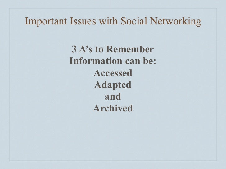 Important Issues with Social Networking            3 A's to Remember          Information can be:                Accessed ...