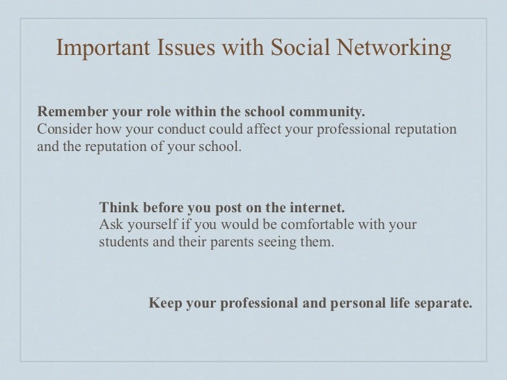 Important Issues with Social Networking  Remember your role within the school community. Consider how your conduct could a...