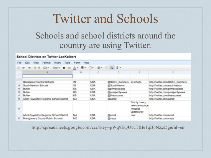 Twitter and Schools         Schools and school districts around the               country are using Twitter.            ht...