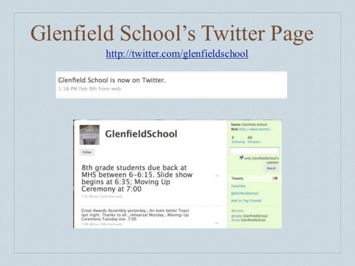 Glenfield School's Twitter Page            http://twitter.com/glenfieldschool      You can even have a widget on your scho...