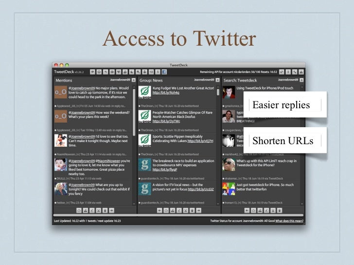 Access to Twitter                  Easier replies                   Shorten URLs                   Add pictures
