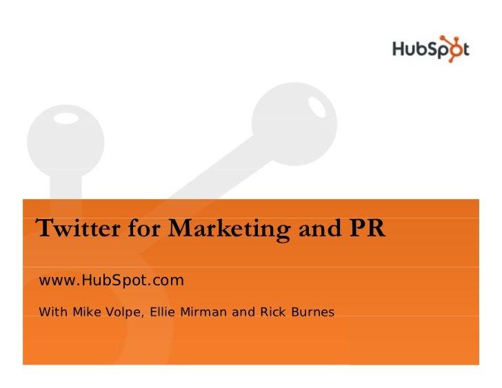 Twitter for Marketing and PR Slide 1