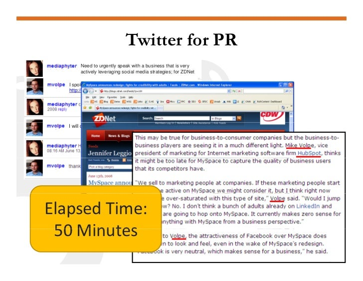 Twitter for PR         Need to urgently speak with a business that is very         actively leveraging social media strate...