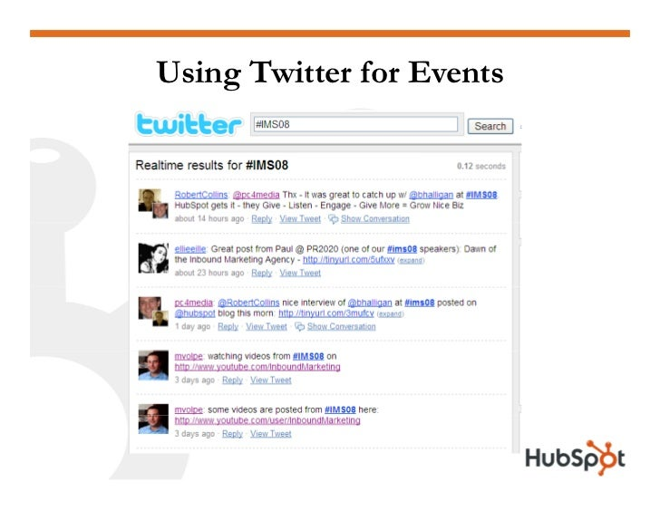 Using Twitter for Events